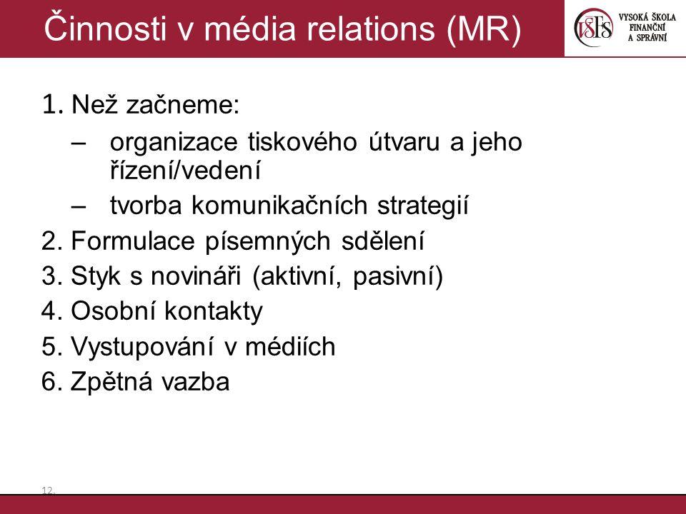 1. Než začneme: –organizace tiskového útvaru a jeho řízení/vedení –tvorba komunikačních strategií 2. Formulace písemných sdělení 3. Styk s novináři (a