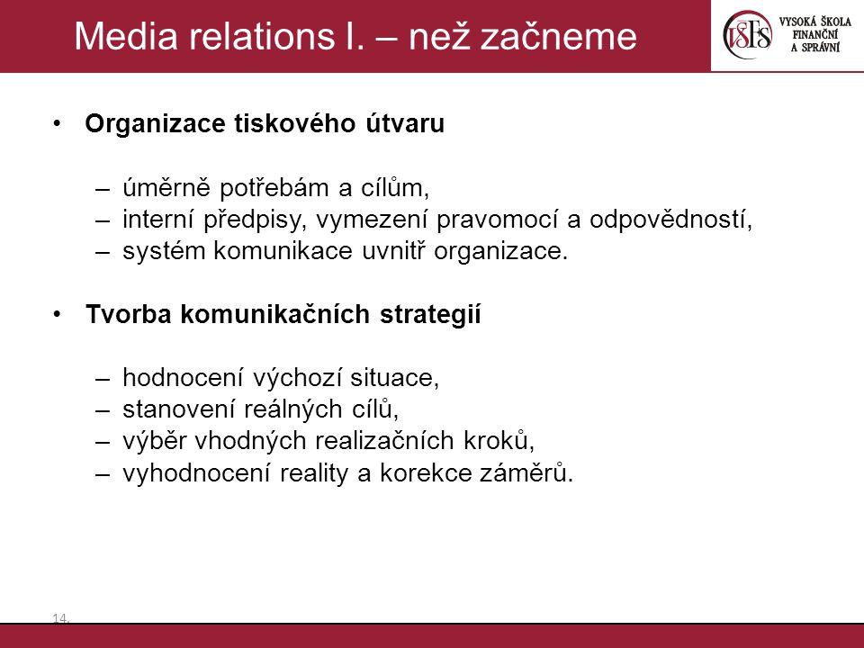 Organizace tiskového útvaru –úměrně potřebám a cílům, –interní předpisy, vymezení pravomocí a odpovědností, –systém komunikace uvnitř organizace. Tvor