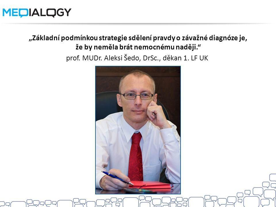 """""""Základní podmínkou strategie sdělení pravdy o závažné diagnóze je, že by neměla brát nemocnému naději."""" prof. MUDr. Aleksi Šedo, DrSc., děkan 1. LF U"""