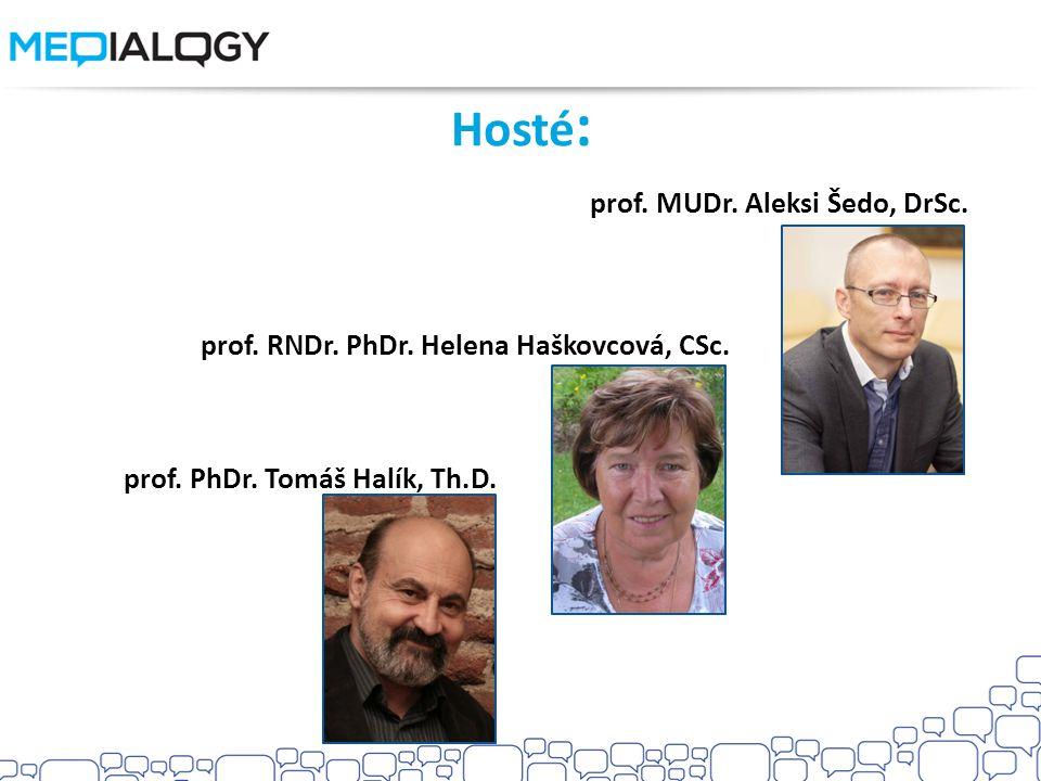 Hosté : prof. MUDr. Aleksi Šedo, DrSc. prof. RNDr. PhDr. Helena Haškovcová, CSc. prof. PhDr. Tomáš Halík, Th.D.