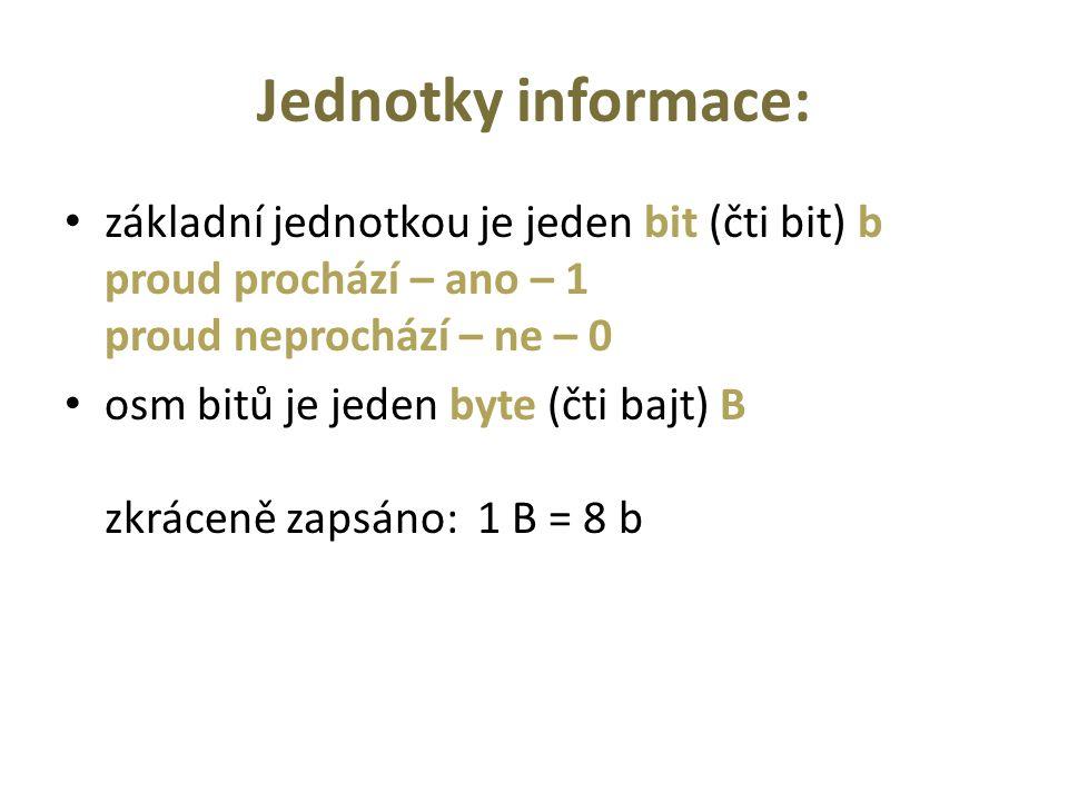 Jednotky informace: základní jednotkou je jeden bit (čti bit) b proud prochází – ano – 1 proud neprochází – ne – 0 osm bitů je jeden byte (čti bajt) B zkráceně zapsáno: 1 B = 8 b
