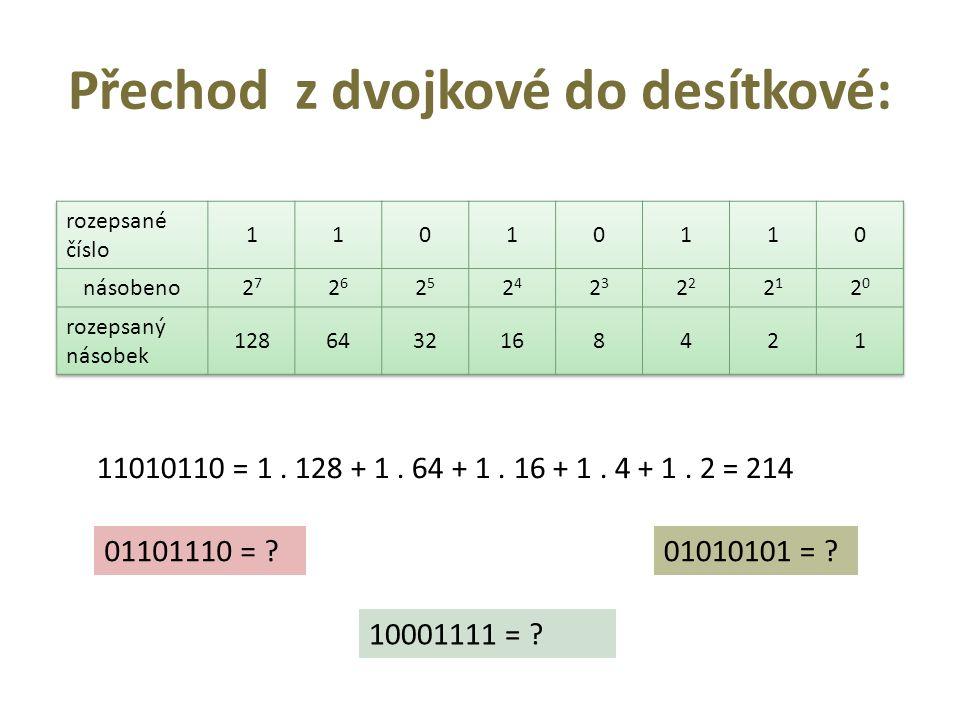 Přechod z dvojkové do desítkové: 11010110 = 1. 128 + 1.