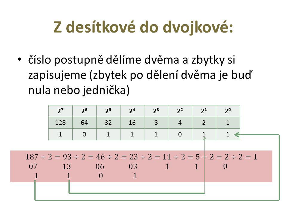 Z desítkové do dvojkové: číslo postupně dělíme dvěma a zbytky si zapisujeme (zbytek po dělení dvěma je buď nula nebo jednička) 2727 2626 2525 2424 23232 2121 2020 1286432168421 10111011