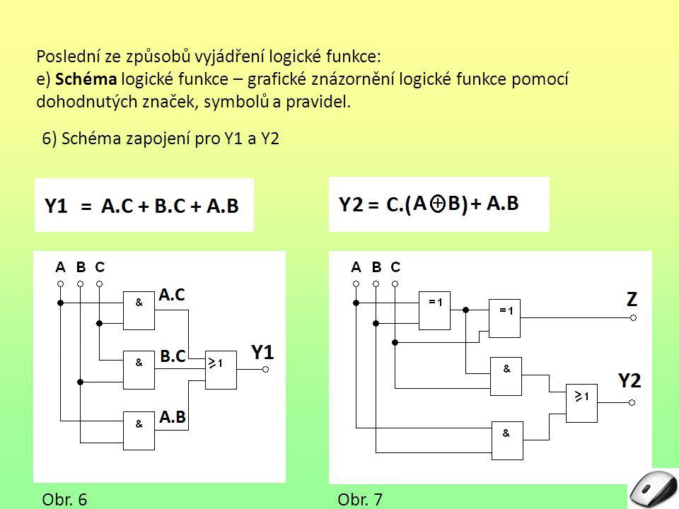 Poslední ze způsobů vyjádření logické funkce: e) Schéma logické funkce – grafické znázornění logické funkce pomocí dohodnutých značek, symbolů a pravi