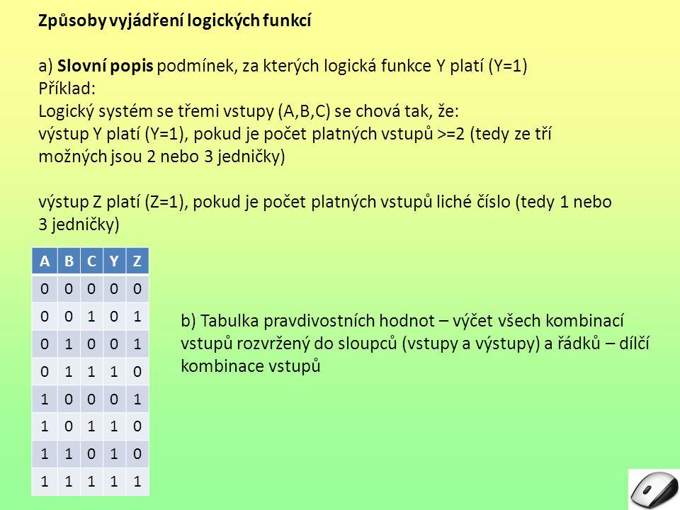 Způsoby vyjádření logických funkcí a) Slovní popis podmínek, za kterých logická funkce Y platí (Y=1) Příklad: Logický systém se třemi vstupy (A,B,C) se chová tak, že: výstup Y platí (Y=1), pokud je počet platných vstupů >=2 >=2 (tedy ze tří možných jsou 2 nebo 3 jedničky) výstup Z platí (Z=1), pokud je počet platných vstupů liché číslo (tedy 1 nebo 3 jedničky) ABCYZ 00000 00101 01001 01110 10001 10110 11010 11111 b) Tabulka pravdivostních hodnot – výčet všech kombinací vstupů rozvržený do sloupců (vstupy a výstupy) a řádků – dílčí kombinace vstupů