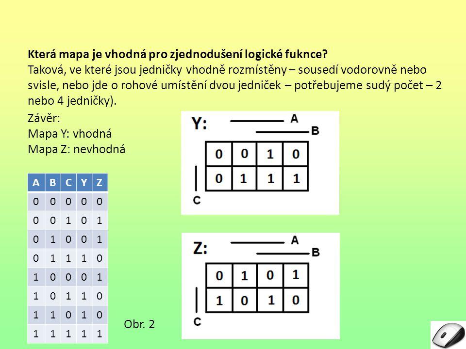 Která mapa je vhodná pro zjednodušení logické fuknce? Taková, ve které jsou jedničky vhodně rozmístěny – sousedí vodorovně nebo svisle, nebo jde o roh