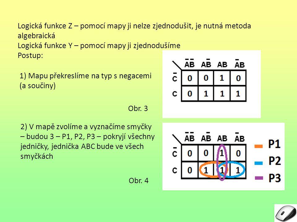 Logická funkce Z – pomocí mapy ji nelze zjednodušit, je nutná metoda algebraická Logická funkce Y – pomocí mapy ji zjednodušíme Postup: Obr. 3 1) Mapu