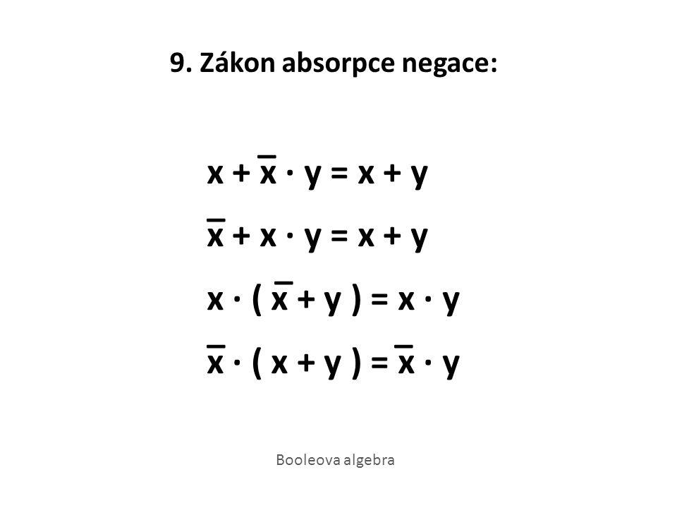 9. Zákon absorpce negace: _ x + x · y = x + y _ x + x · y = x + y _ x · ( x + y ) = x · y _ x · ( x + y ) = x · y Booleova algebra