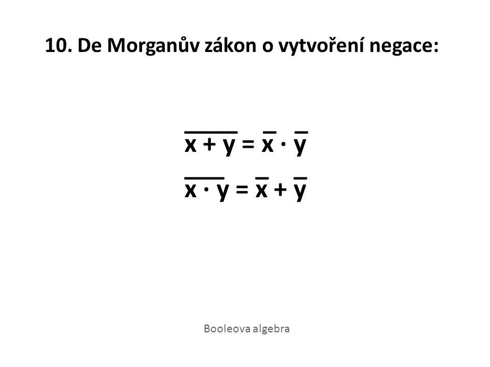 10. De Morganův zákon o vytvoření negace: ____ _ _ x + y = x · y ___ _ _ x · y = x + y Booleova algebra