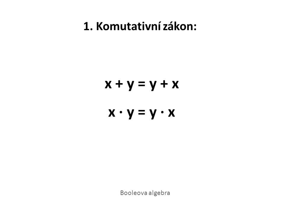 1. Komutativní zákon: x + y = y + x x · y = y · x Booleova algebra