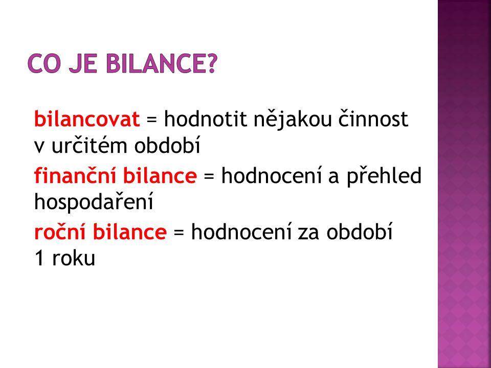 bilancovat = hodnotit nějakou činnost v určitém období finanční bilance = hodnocení a přehled hospodaření roční bilance = hodnocení za období 1 roku