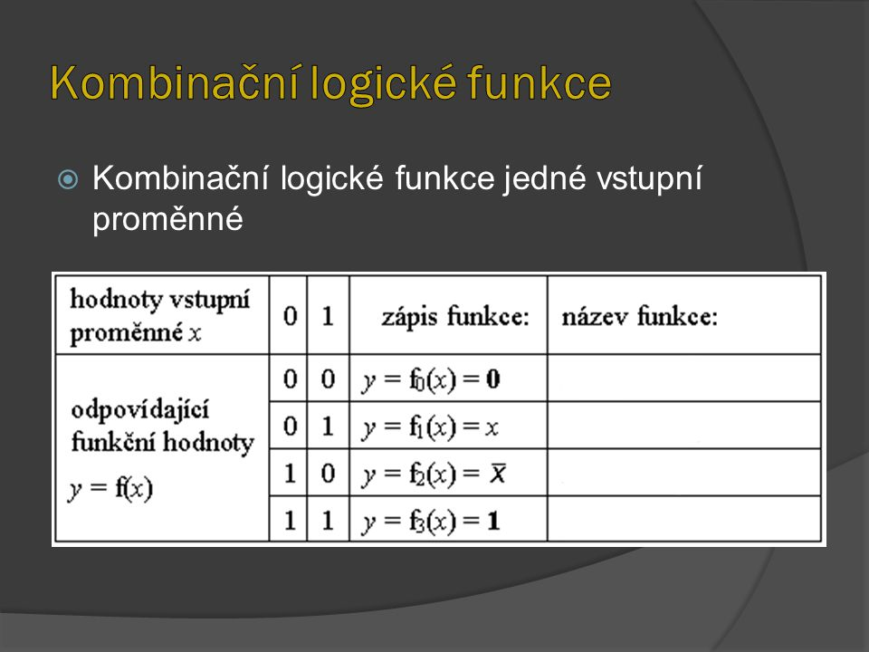  Kombinační logické funkce jedné vstupní proměnné