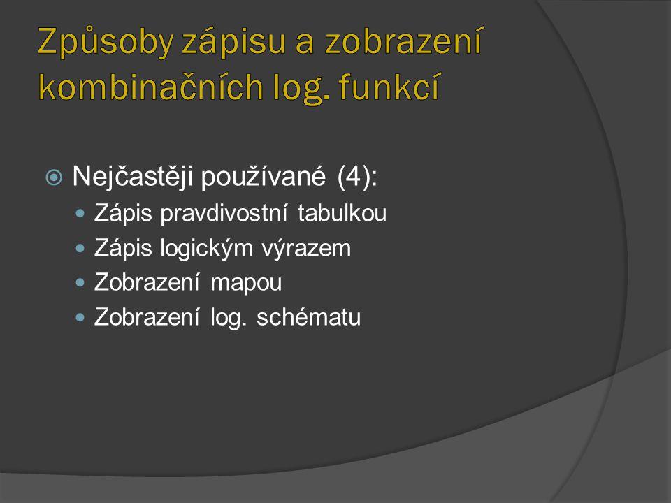  Nejčastěji používané (4): Zápis pravdivostní tabulkou Zápis logickým výrazem Zobrazení mapou Zobrazení log. schématu