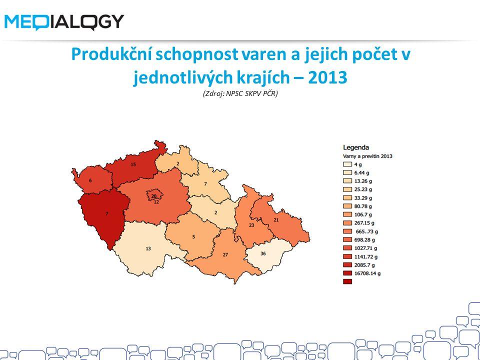 Produkční schopnost varen a jejich počet v jednotlivých krajích – 2013 (Zdroj: NPSC SKPV PČR)