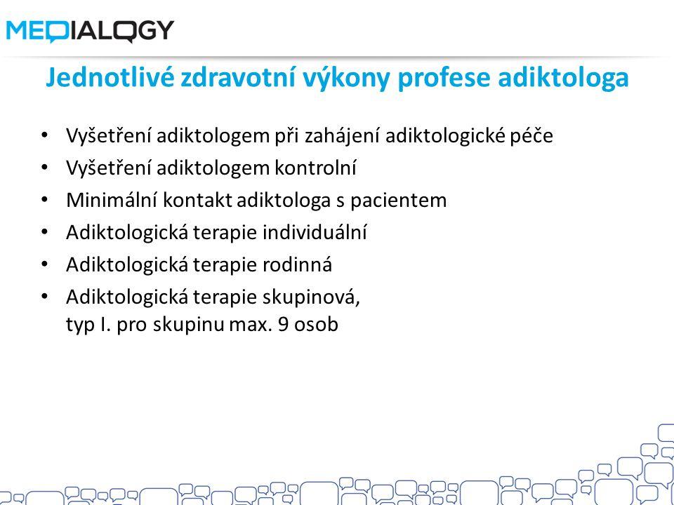 Jednotlivé zdravotní výkony profese adiktologa Vyšetření adiktologem při zahájení adiktologické péče Vyšetření adiktologem kontrolní Minimální kontakt adiktologa s pacientem Adiktologická terapie individuální Adiktologická terapie rodinná Adiktologická terapie skupinová, typ I.
