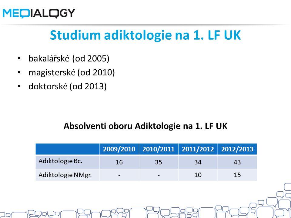 Studium adiktologie na 1. LF UK bakalářské (od 2005) magisterské (od 2010) doktorské (od 2013) Absolventi oboru Adiktologie na 1. LF UK 2009/20102010/