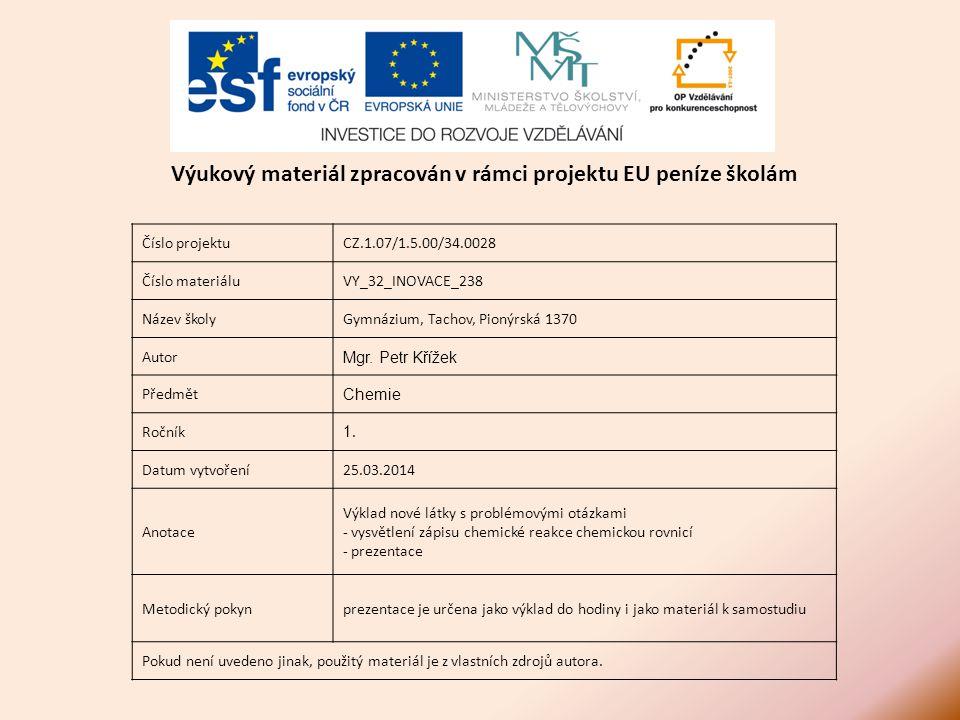 Číslo projektuCZ.1.07/1.5.00/34.0028 Číslo materiáluVY_32_INOVACE_238 Název školyGymnázium, Tachov, Pionýrská 1370 Autor Mgr.