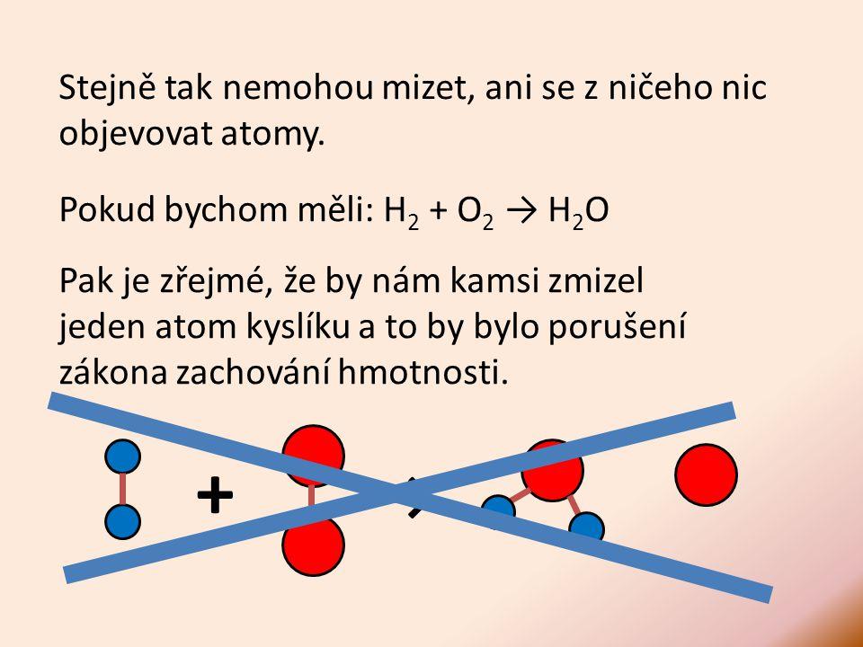 Stejně tak nemohou mizet, ani se z ničeho nic objevovat atomy.