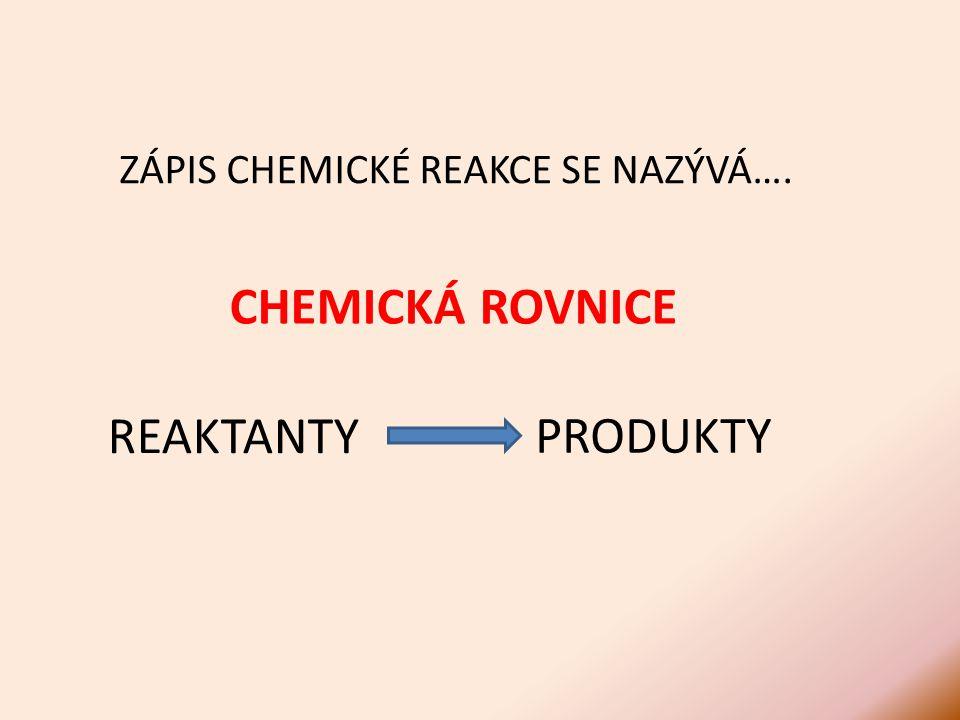 CHEMICKÁ ROVNICE ZÁPIS CHEMICKÉ REAKCE SE NAZÝVÁ…. PRODUKTY REAKTANTY