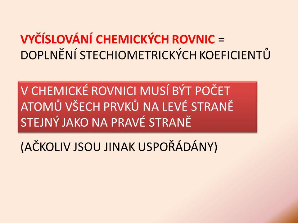 V CHEMICKÉ ROVNICI MUSÍ BÝT POČET ATOMŮ VŠECH PRVKŮ NA LEVÉ STRANĚ STEJNÝ JAKO NA PRAVÉ STRANĚ (AČKOLIV JSOU JINAK USPOŘÁDÁNY) VYČÍSLOVÁNÍ CHEMICKÝCH ROVNIC = DOPLNĚNÍ STECHIOMETRICKÝCH KOEFICIENTŮ