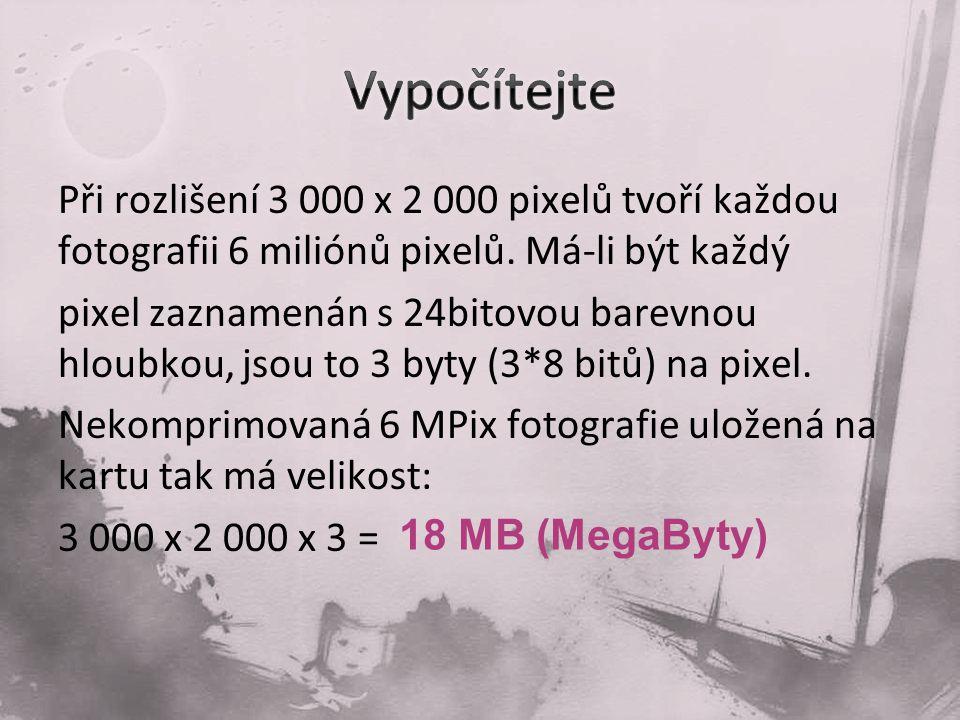 Při rozlišení 3 000 x 2 000 pixelů tvoří každou fotografii 6 miliónů pixelů.