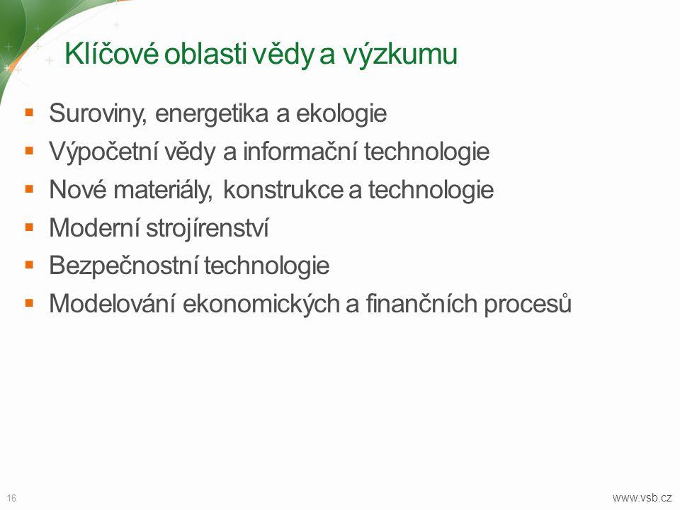Klíčové oblasti vědy a výzkumu 16  Suroviny, energetika a ekologie  Výpočetní vědy a informační technologie  Nové materiály, konstrukce a technolog