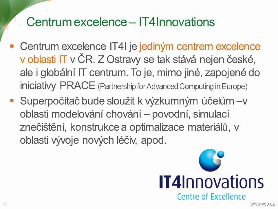 Centrum excelence – IT4Innovations 17  Centrum excelence IT4I je jediným centrem excelence v oblasti IT v ČR. Z Ostravy se tak stává nejen české, ale