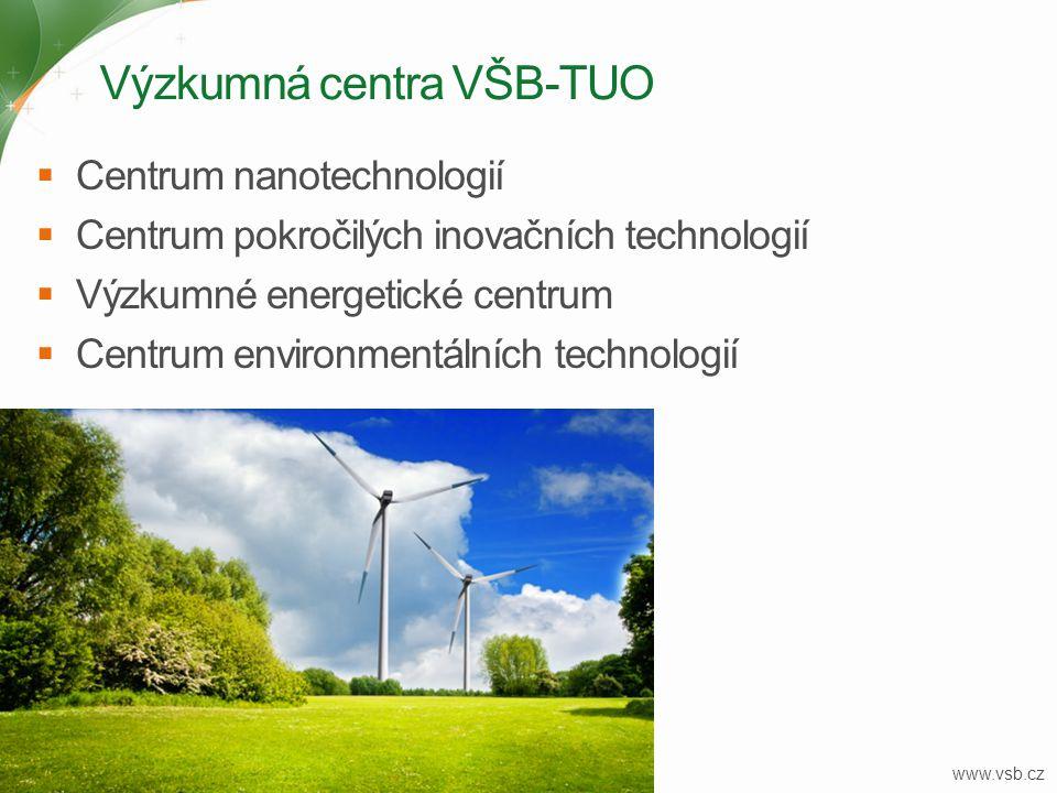 Výzkumná centra VŠB-TUO 19  Centrum nanotechnologií  Centrum pokročilých inovačních technologií  Výzkumné energetické centrum  Centrum environment