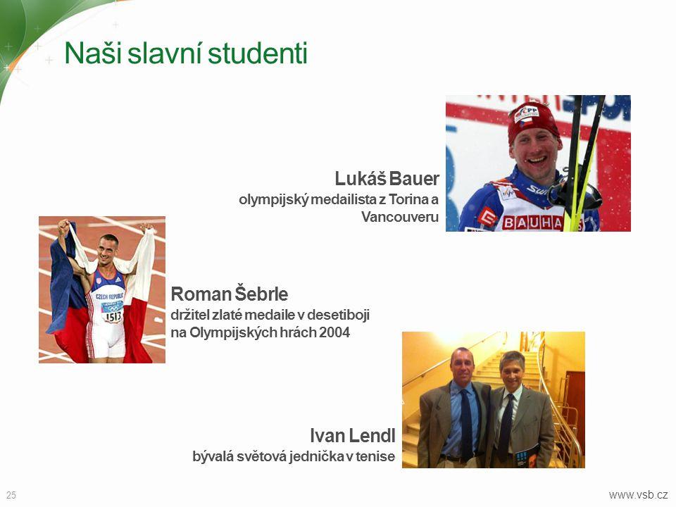 Naši slavní studenti 25 www.vsb.cz Roman Šebrle držitel zlaté medaile v desetiboji na Olympijských hrách 2004 Lukáš Bauer olympijský medailista z Tori