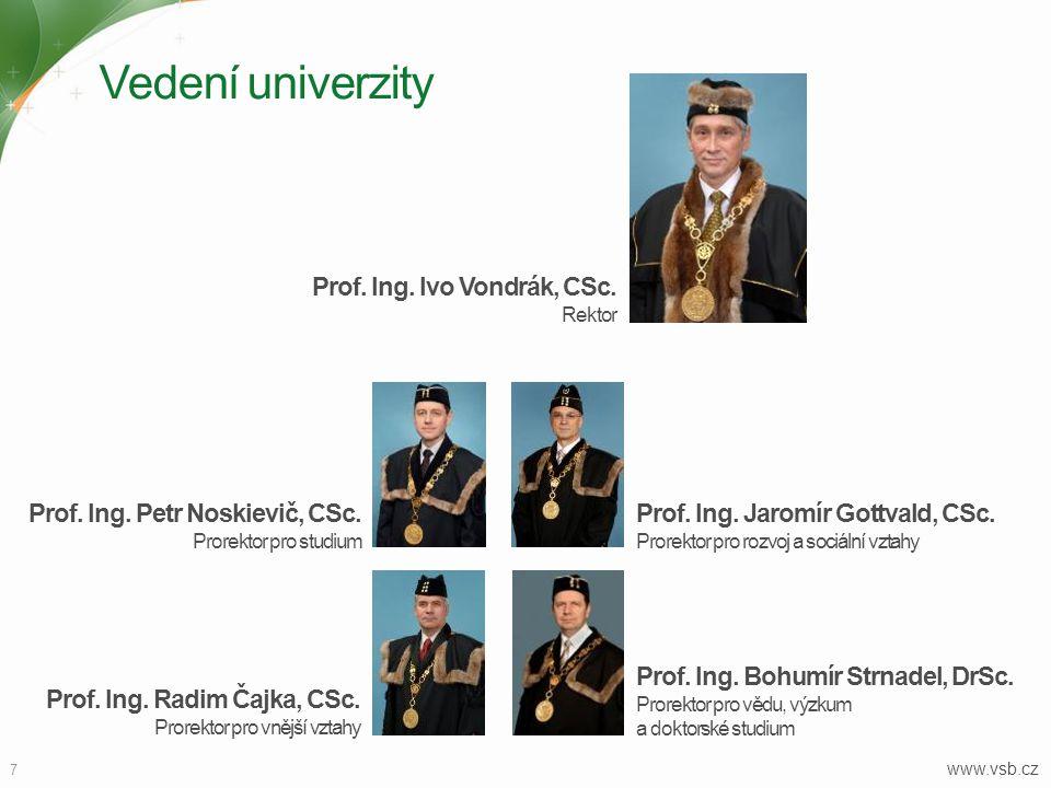 Vedení univerzity www.vsb.cz 7 Prof. Ing. Jaromír Gottvald, CSc. Prorektor pro rozvoj a sociální vztahy Prof. Ing. Radim Čajka, CSc. Prorektor pro vně