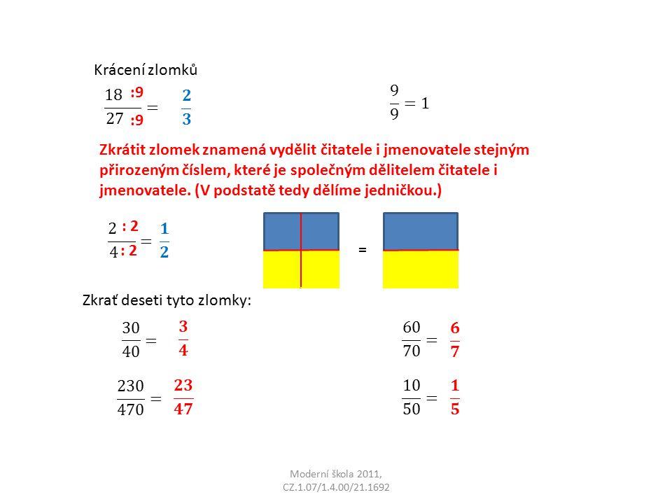 Moderní škola 2011, CZ.1.07/1.4.00/21.1692 :9 Zkrátit zlomek znamená vydělit čitatele i jmenovatele stejným přirozeným číslem, které je společným dělitelem čitatele i jmenovatele.