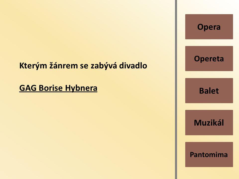 Pantomima Muzikál Balet Opereta Opera Kterým žánrem se zabývá divadlo GAG Borise Hybnera