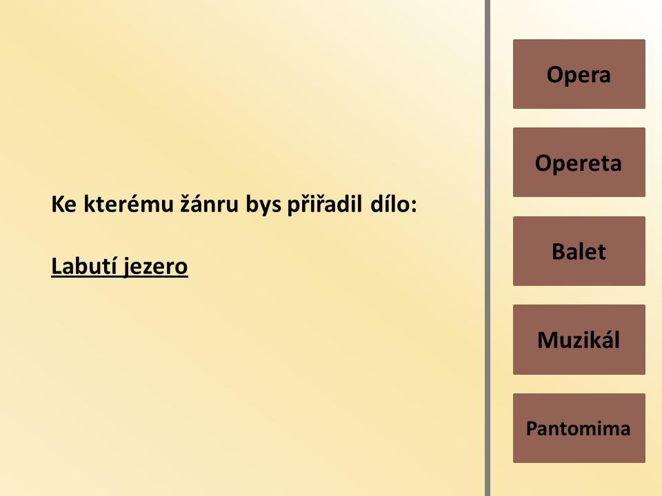 Pantomima Muzikál Balet Opereta Opera Ke kterému žánru bys přiřadil dílo: Labutí jezero