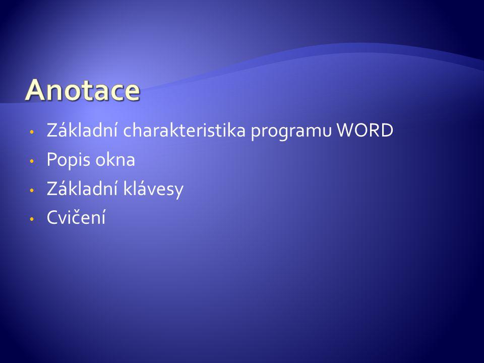 Základní charakteristika programu WORD Popis okna Základní klávesy Cvičení