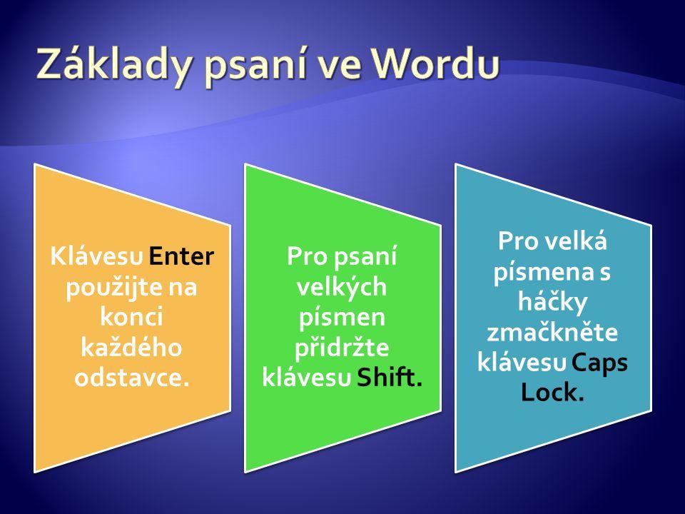 Klávesu Enter použijte na konci každého odstavce. Pro psaní velkých písmen přidržte klávesu Shift. Pro velká písmena s háčky zmačkněte klávesu Caps Lo