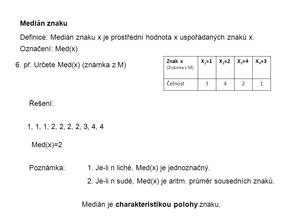 Medián znaku Definice: Medián znaku x je prostřední hodnota x uspořádaných znaků x. 6. př. Určete Med(x) (známka z M) Označení: Med(x) Znak x (Známka