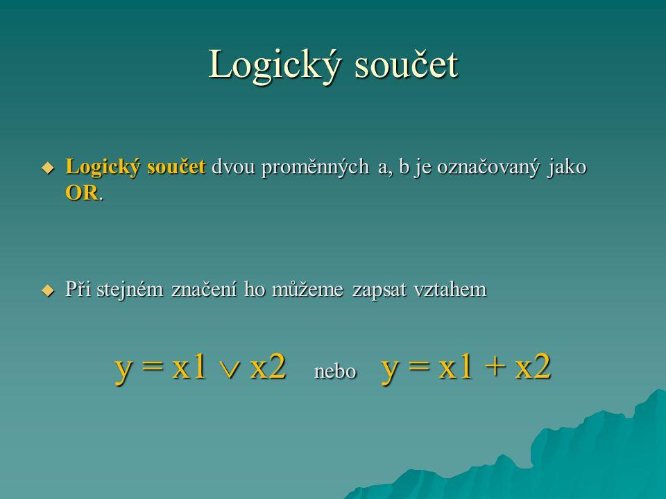 Logický součet  Logický součet dvou proměnných a, b je označovaný jako OR.  Při stejném značení ho můžeme zapsat vztahem y = x1  x2 nebo y = x1 + x