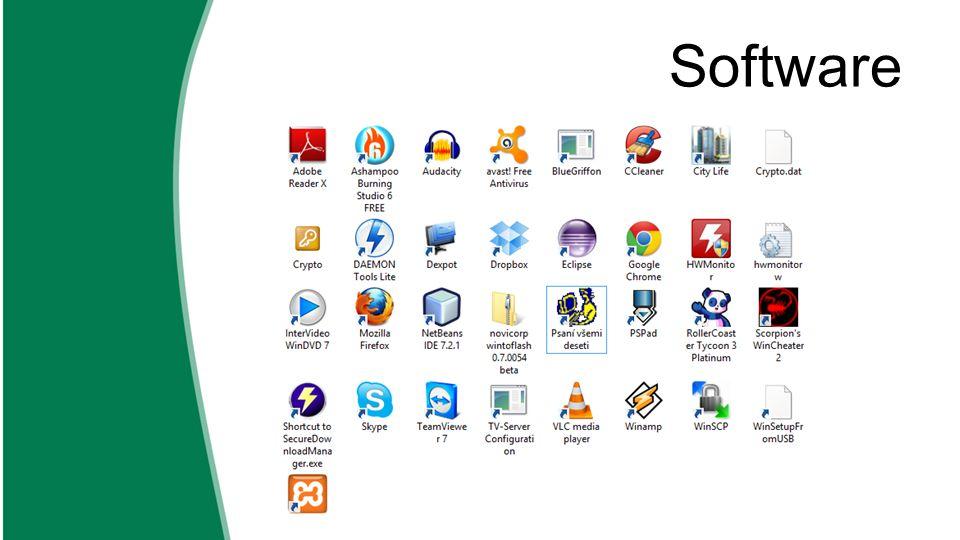 systémový software  umožňuje efektivní používání počítače  operační systém – spravuje počítač, vytváří prostředí pro programy  Windows, Linux, Mac, ….