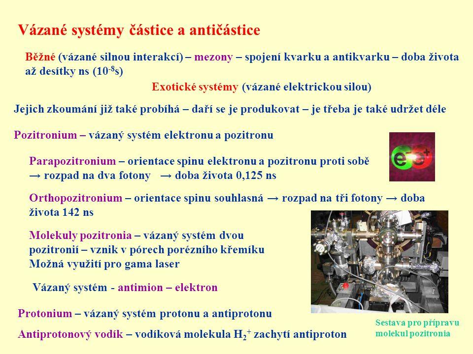 Vázané systémy částice a antičástice Protonium – vázaný systém protonu a antiprotonu Antiprotonový vodík – vodíková molekula H 2 + zachytí antiproton Jejich zkoumání již také probíhá – daří se je produkovat – je třeba je také udržet déle Pozitronium – vázaný systém elektronu a pozitronu Exotické systémy (vázané elektrickou silou) Běžné (vázané silnou interakcí) – mezony – spojení kvarku a antikvarku – doba života až desítky ns (10 -8 s) Molekuly pozitronia – vázaný systém dvou pozitronií – vznik v pórech porézního křemíku Možná využití pro gama laser Parapozitronium – orientace spinu elektronu a pozitronu proti sobě → rozpad na dva fotony → doba života 0,125 ns Orthopozitronium – orientace spinu souhlasná → rozpad na tři fotony → doba života 142 ns Vázaný systém - antimion – elektron Sestava pro přípravu molekul pozitronia