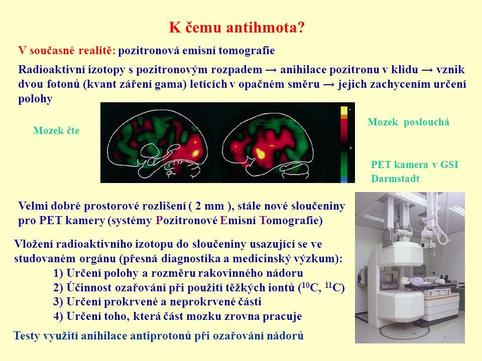 K čemu antihmota? V současné realitě: pozitronová emisní tomografie Radioaktivní izotopy s pozitronovým rozpadem → anihilace pozitronu v klidu → vznik