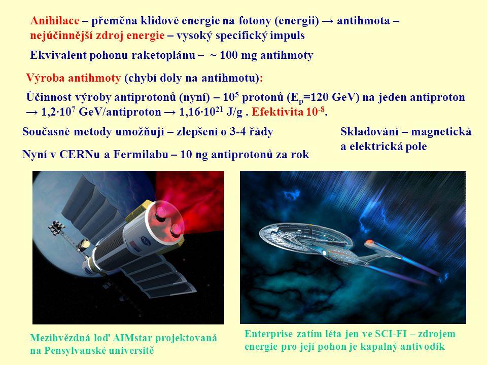 Anihilace – přeměna klidové energie na fotony (energii) → antihmota – nejúčinnější zdroj energie – vysoký specifický impuls Ekvivalent pohonu raketopl