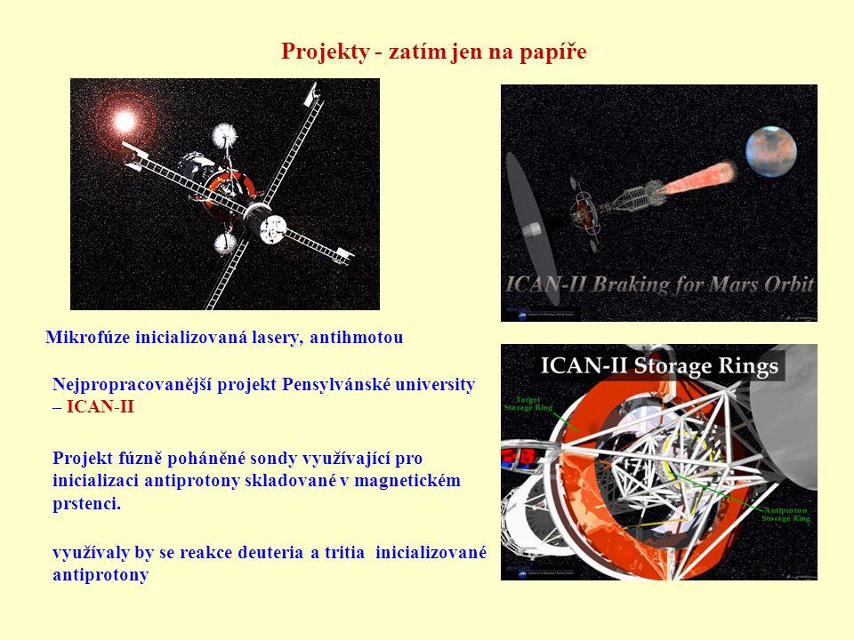 Projekty - zatím jen na papíře Mikrofúze inicializovaná lasery, antihmotou Projekt fúzně poháněné sondy využívající pro inicializaci antiprotony skladované v magnetickém prstenci.