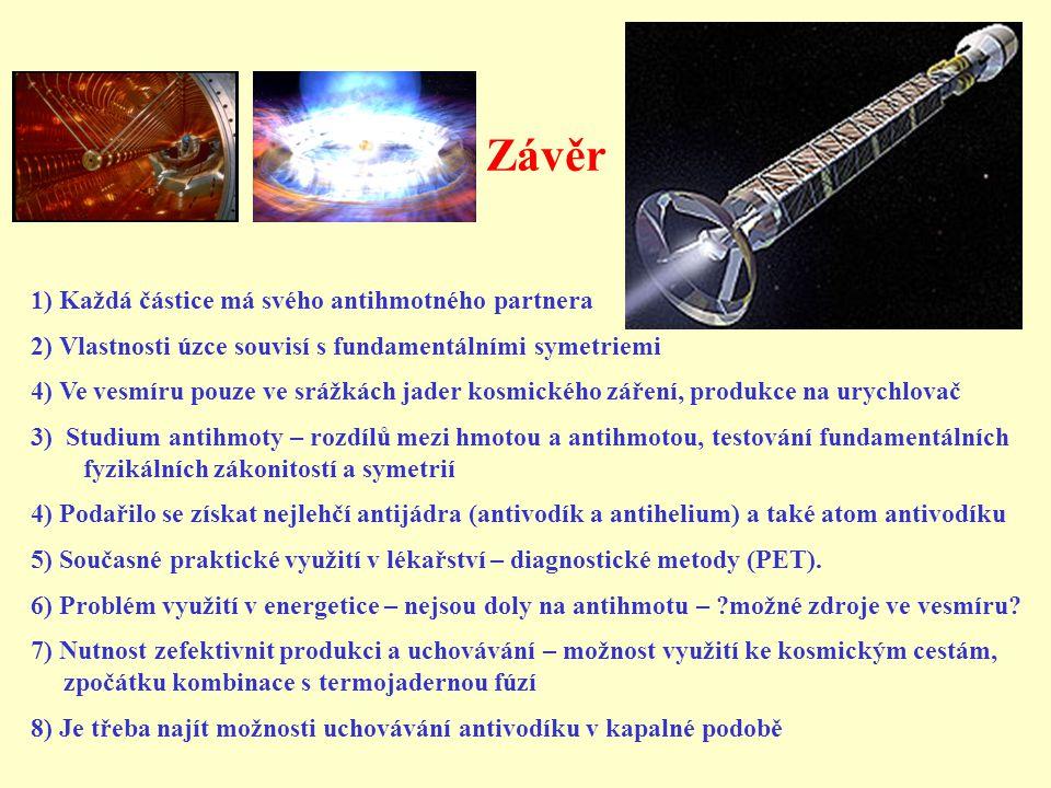 Závěr 1) Každá částice má svého antihmotného partnera 2) Vlastnosti úzce souvisí s fundamentálními symetriemi 4) Ve vesmíru pouze ve srážkách jader ko