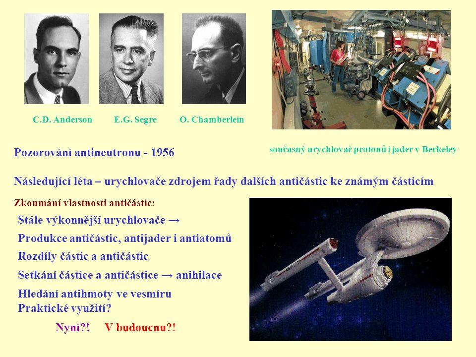 Zkoumání vlastnosti antičástic: Stále výkonnější urychlovače → Produkce antičástic, antijader i antiatomů Rozdíly částic a antičástic Následující léta