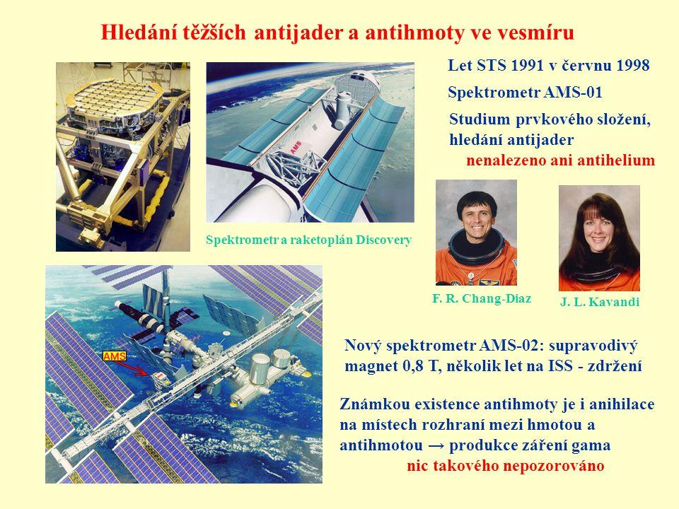 Let STS 1991 v červnu 1998 J. L. Kavandi F. R. Chang-Diaz Spektrometr AMS-01 Studium prvkového složení, hledání antijader nenalezeno ani antihelium Hl