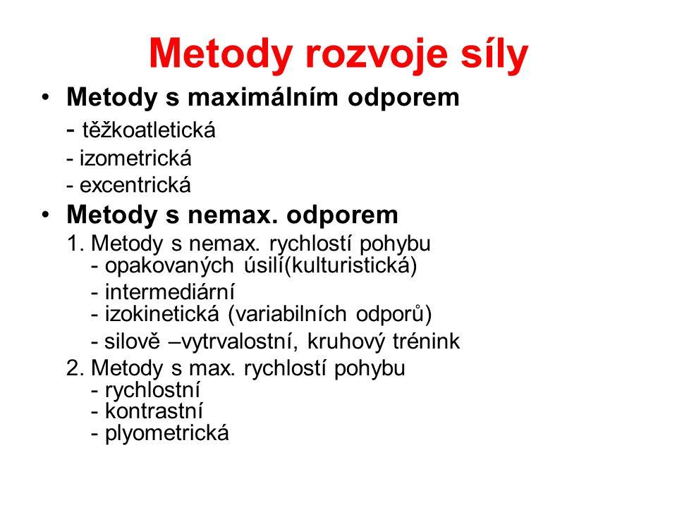 Metody rozvoje síly Metody s maximálním odporem - těžkoatletická - izometrická - excentrická Metody s nemax. odporem 1. Metody s nemax. rychlostí pohy