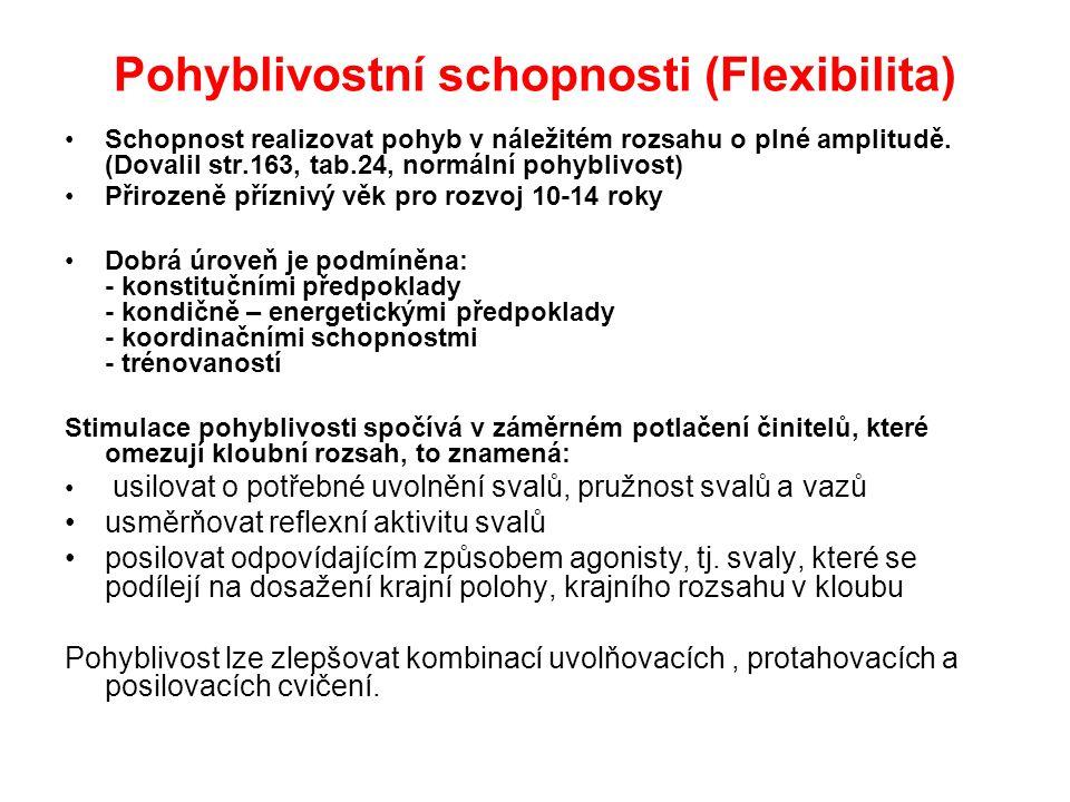 Pohyblivostní schopnosti (Flexibilita) Schopnost realizovat pohyb v náležitém rozsahu o plné amplitudě. (Dovalil str.163, tab.24, normální pohyblivost