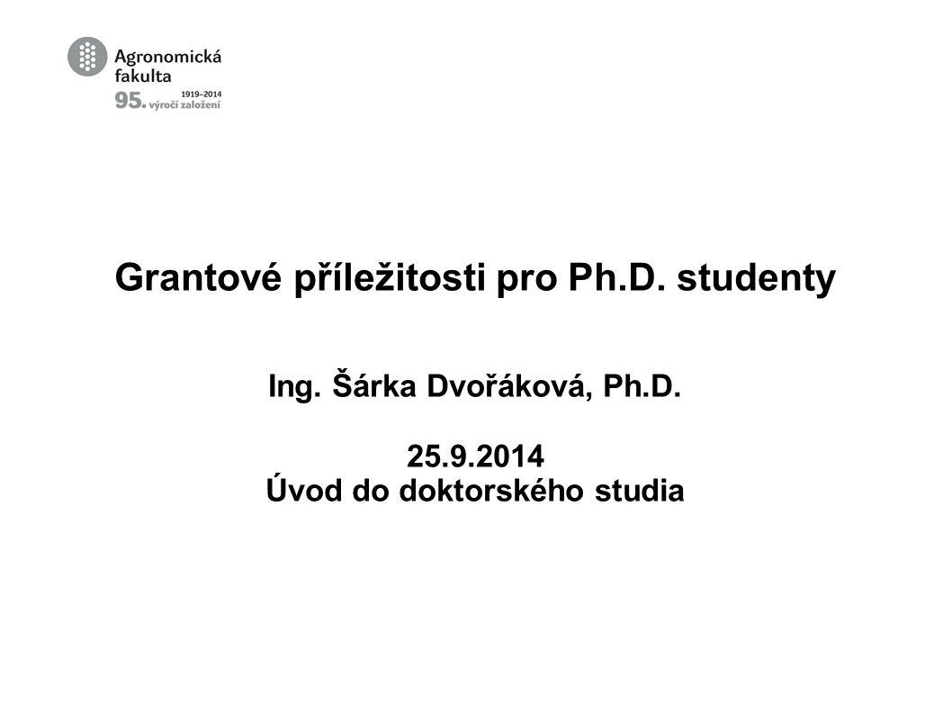 Interní grantová agentura AF MENDELU Seminář spojený s workshopem k tvorbě individuálních projektů IGA 7.10.2014 ve 10:00 hod.