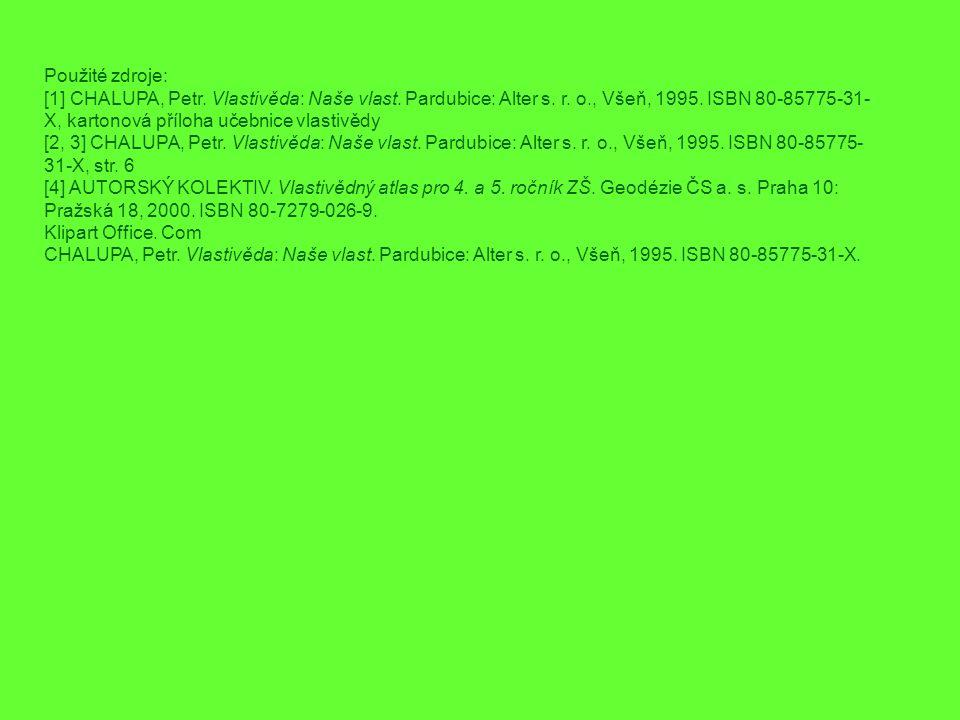 Použité zdroje: [1] CHALUPA, Petr. Vlastivěda: Naše vlast. Pardubice: Alter s. r. o., Všeň, 1995. ISBN 80-85775-31- X, kartonová příloha učebnice vlas