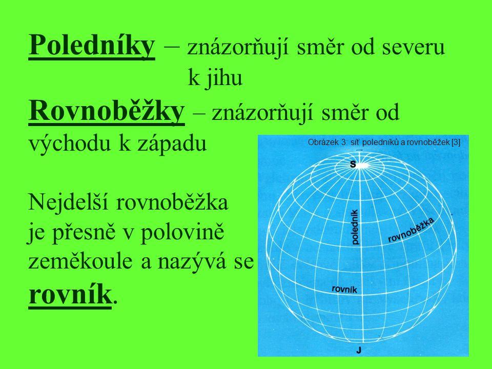 Poledníky – znázorňují směr od severu k jihu Rovnoběžky – znázorňují směr od východu k západu Nejdelší rovnoběžka je přesně v polovině zeměkoule a naz